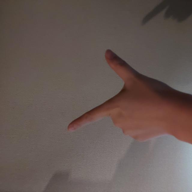 指でL字を作る